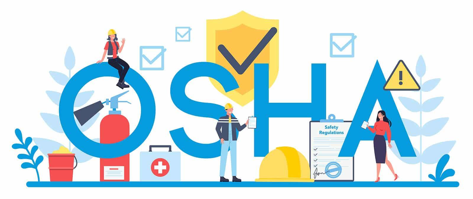 OSHA logo with three cartoon characters.